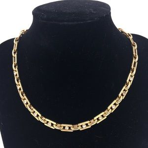 Jewelry - Vintage Link and Rhinestone Gold Tone necklace